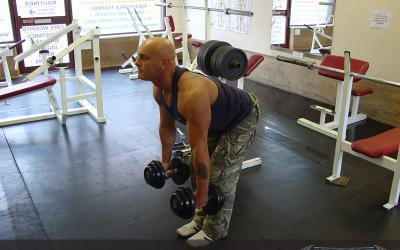 Palms In Bent Over Dumbbell Row