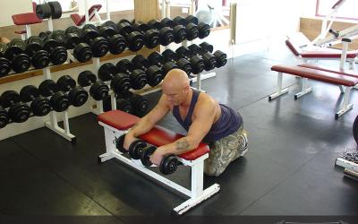 Reverse Dumbbell Wrist Curl Over Bench