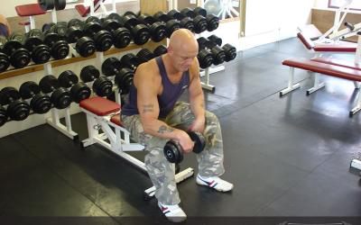 One Arm Seated Reverse Dumbbell Wrist Curl