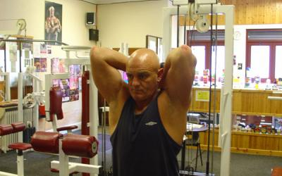 Standing Low Pulley Overhead Tricep Extension (rope extension)