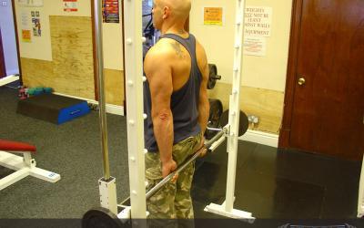 Standing Smith Machine Wrist Curl (behind back)