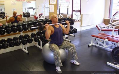 Exercise Ball Barbell Press