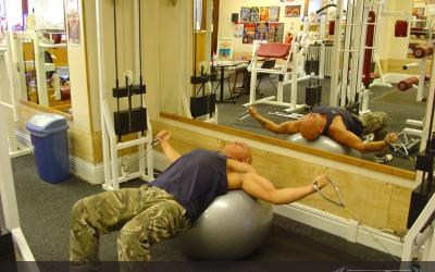 Exercise Ball Cable Flys