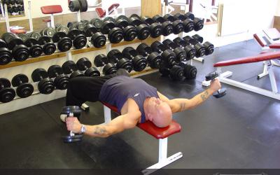 Lying Wide Dumbbell Curl