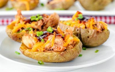 Pulled BBQ Chicken Potato Skins Recipe