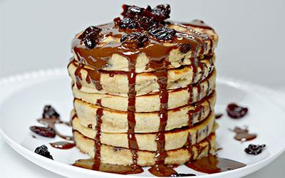 Dark Chocolate Cherry Protein Pancakes