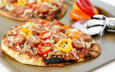 Grilled Sausage and Turkey Flatbread Pizza Recipe