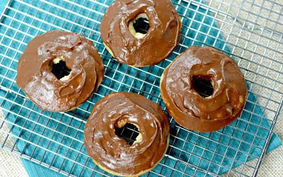 Plate of healthy chocolate peanut butter frosted donuts