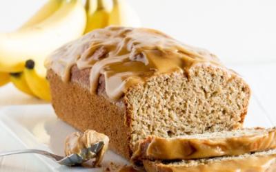 Peanut Butter Maple Glaze Banana Bread