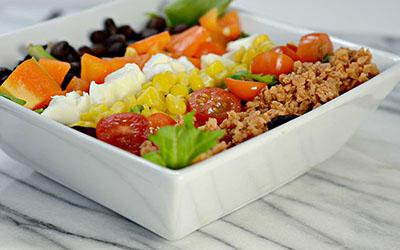 Low-Fat, High-Protein Vegetarian BBQ Cobb Salad