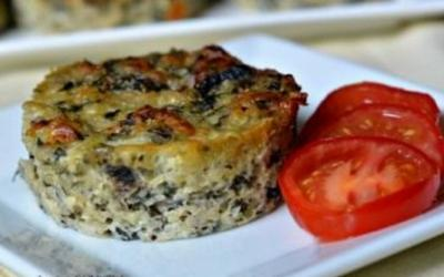 Baked Spinach, Mushroom & Gouda Quiche