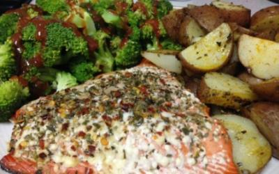 Baked Salmon With Herb Roasted Potatoes & Broccoli