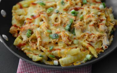 High Protein Sriracha Chicken Cheese Fries