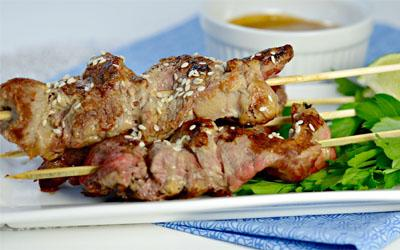 Sesame CranButter Sirloin Steak Tip Skewers