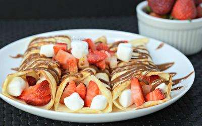 Plate of 3 strawberry s'mores crepes