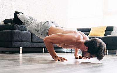 Man decline bodyweight pushup workout
