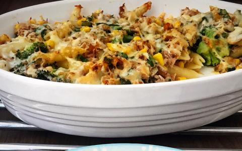 High Protein Tuna Bake Pasta Recipe