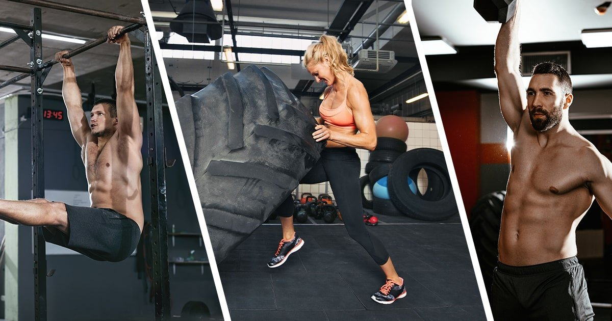 strong men and women working out in the gym