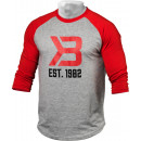 Better Bodies Men's Baseball Tee Small Red/Greymelange