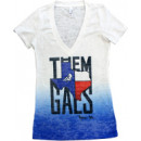 "Ronnie Coleman ""Them Texas Gals"" Ombre V-Neck - Small Blue"