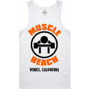 Muscle Beach Nutrition OG Logo Tank Top XL White