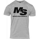 Muscle & Strength Clothing Spinal T-Shirt Medium Heather w/Black Logo