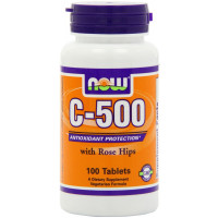 NOW C-500 with Rose Hips, 100 Tablets