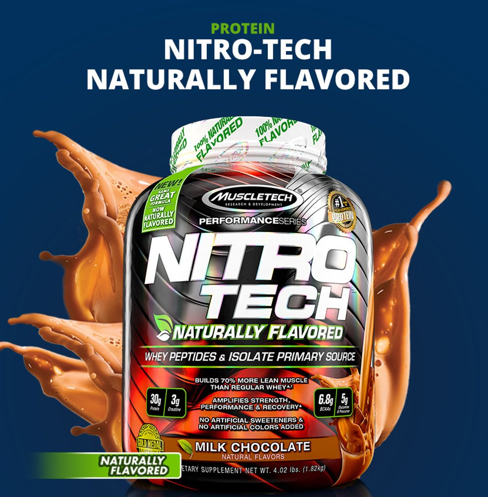Nitro Tech Natural By Muscletech Lowest Prices At Muscle Strength Nitrotech Performance Series 4 Lbs The Most Powerful Protein Formula Ever Developed