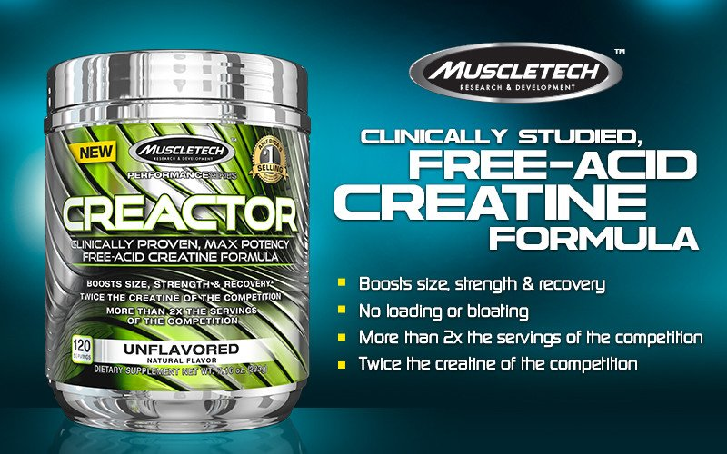 MuscleTech Creactor is a free-acid creatine formula